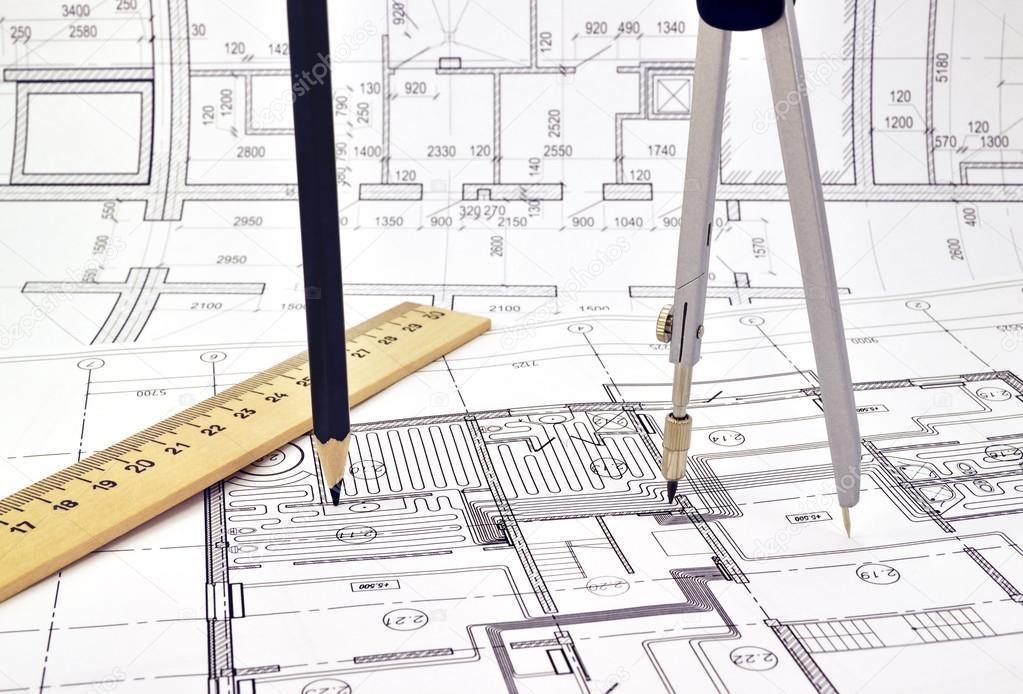 disegnare una planimetria delledificio — Foto Stock © GeorgiMironov ...