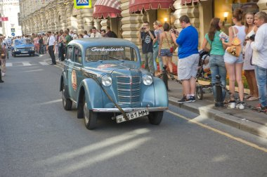 Soviet car Moskvich-401 on retro rally Gorkyclassic about Gum, Moscow, front view