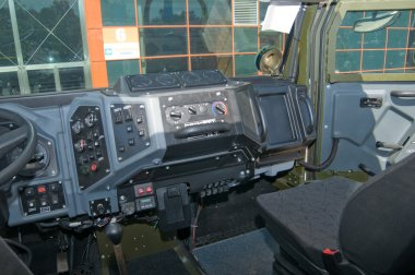 The cab interior armored car Ural-4320VV at the exhibition