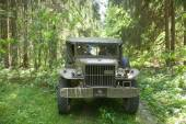 American old military Dodge WC-51 on retro rally in the woods, 3rd international meeting Motors of war near the city Chernogolovka, Moscow region