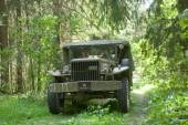 Army American car Dodge WC-51 on retro rally in the woods, 3rd international meeting Motors of war near the city Chernogolovka, Moscow region