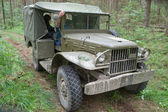 American military retro car Dodge WC-51 on retro rally in the woods, 3rd international meeting Motors of war near the city Chernogolovka, Moscow region