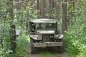 Old U.S. army Dodge WC-51 on retro rally in the woods, 3rd international meeting Motors of war near the city Chernogolovka, Moscow region, front view