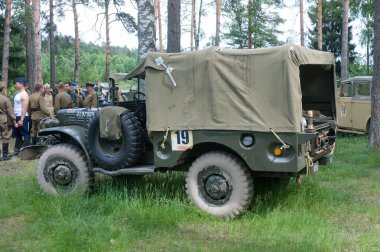 American old army Dodge WC-51 on retro rally in the woods, 3rd international meeting