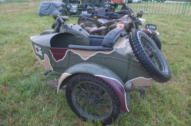 Japanese old military Rikuo motorcycle Type 97 (a copy of the Harley-Davidson) at the 3rd international meeting of
