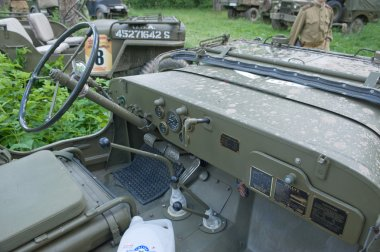 Cabin military retro car Willys MB at the 3rd international meeting of