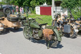 American Indian motorcycle INDIAN 741 B and German BMW R-75, 3rd international meeting Motors of war near the town of Chernogolovka, Moscow region