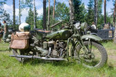 American military motorcycle INDIAN 741 B, side view, 3rd international meeting Motors of war near the town of Chernogolovka, Moscow region