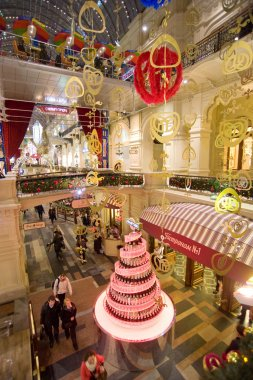 The interior of the Main Department Store (GUM), decorated for the holiday New Year evening,  MOSCOW, RUSSIA