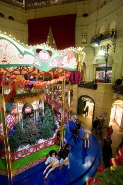 The interior of the GUM, decorated for the holiday New Year , view from above, MOSCOW, RUSSIA