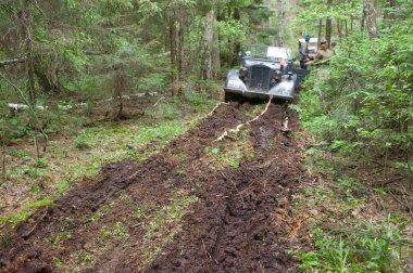 German car Horh-901 stuck in the mud on retro rally,  3rd international meeting