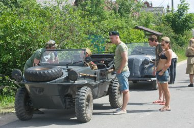 Stop military retro cars on the road, the 3rd international meeting of