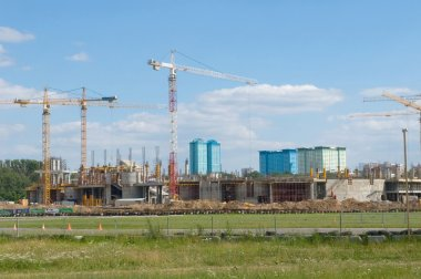 Tushino airfield in the summer, the views of the cranes on the construction of the stadium