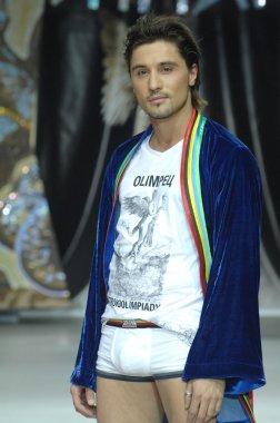 Moscow Fashion Week in Gostiny Dvor. Russian singer Dima Bilan at the show of fashion Ilya Shiyan
