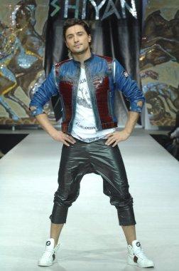 Moscow Fashion Week in Gostiny Dvor. Russian singer Dima Bilan at the fashion show of  designer Ilya Shiyan