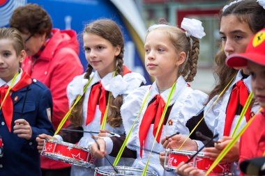 Russia, Moscow - September 11, 2016: Moscow City Day. Moscow residents and guests celebrate the 869 anniversary of the city. Performance on Tverskaya Street. Public-event. Pioneer drummer children.
