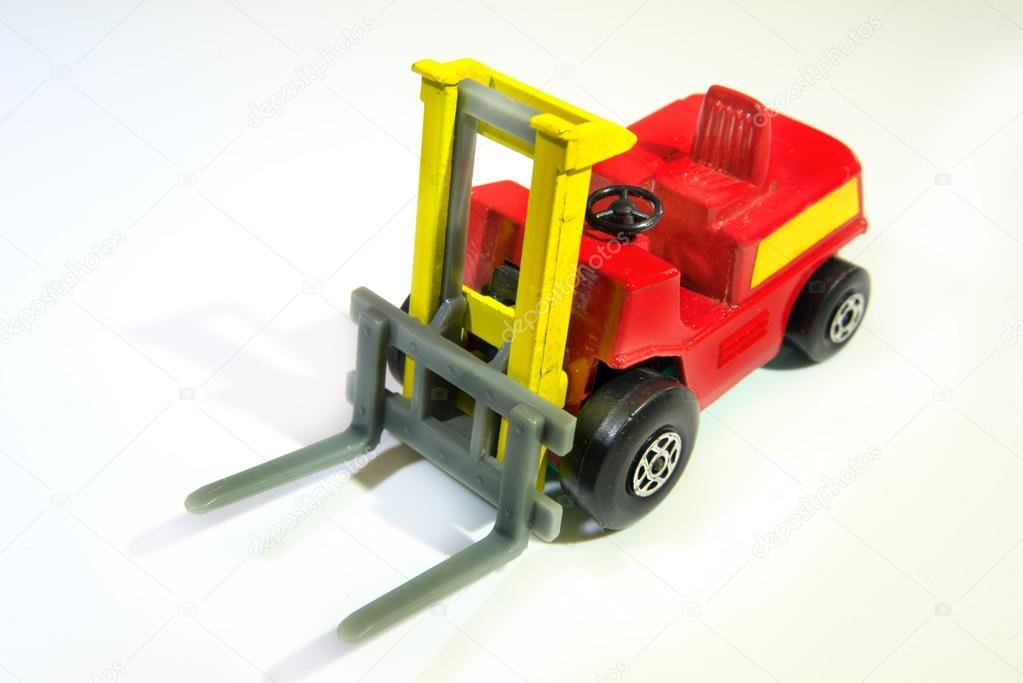Juguete Del Carro Tenedor Industrial Rojo Y Amarillo Elevador