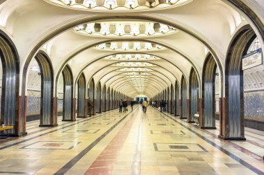 MOSCOW - MARCH 21: Interior of the metro station Mayakovskaya on March 21, 2015 in Moscow, Russia. Moscow Metro is the world's busiest metro system