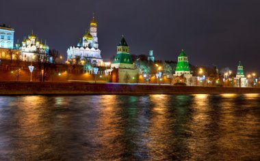 Overview of downtown Moscow with Kremlin at night time. Panoramic view.