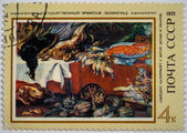 Moscow, Russia - October 3, 2015: A stamp printed in USSR shows Still Life, by Frans Snyders (1579-1657), from the series Foreign paintings in Russian museums, circa 1973