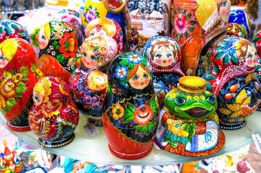 MOSCOW, RUSSIA - DECEMBER 11, 2015: traditional handmade Colorful Russian Nesting Dolls Matreshka in Central Children's Store on Lubyanka. Matrioshka babushka are the most popular souvenir from Russia