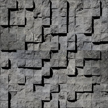 Abstract gray stony cubes stacked for seamless background