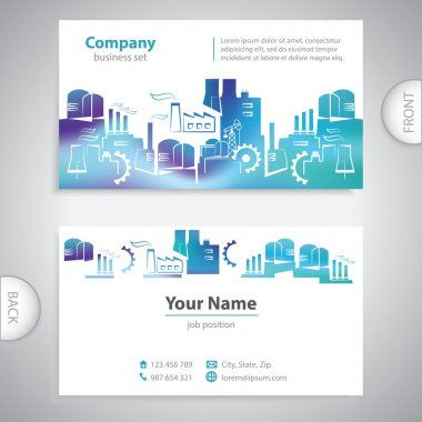 business card - Abstract factory silhouettes - company presentat