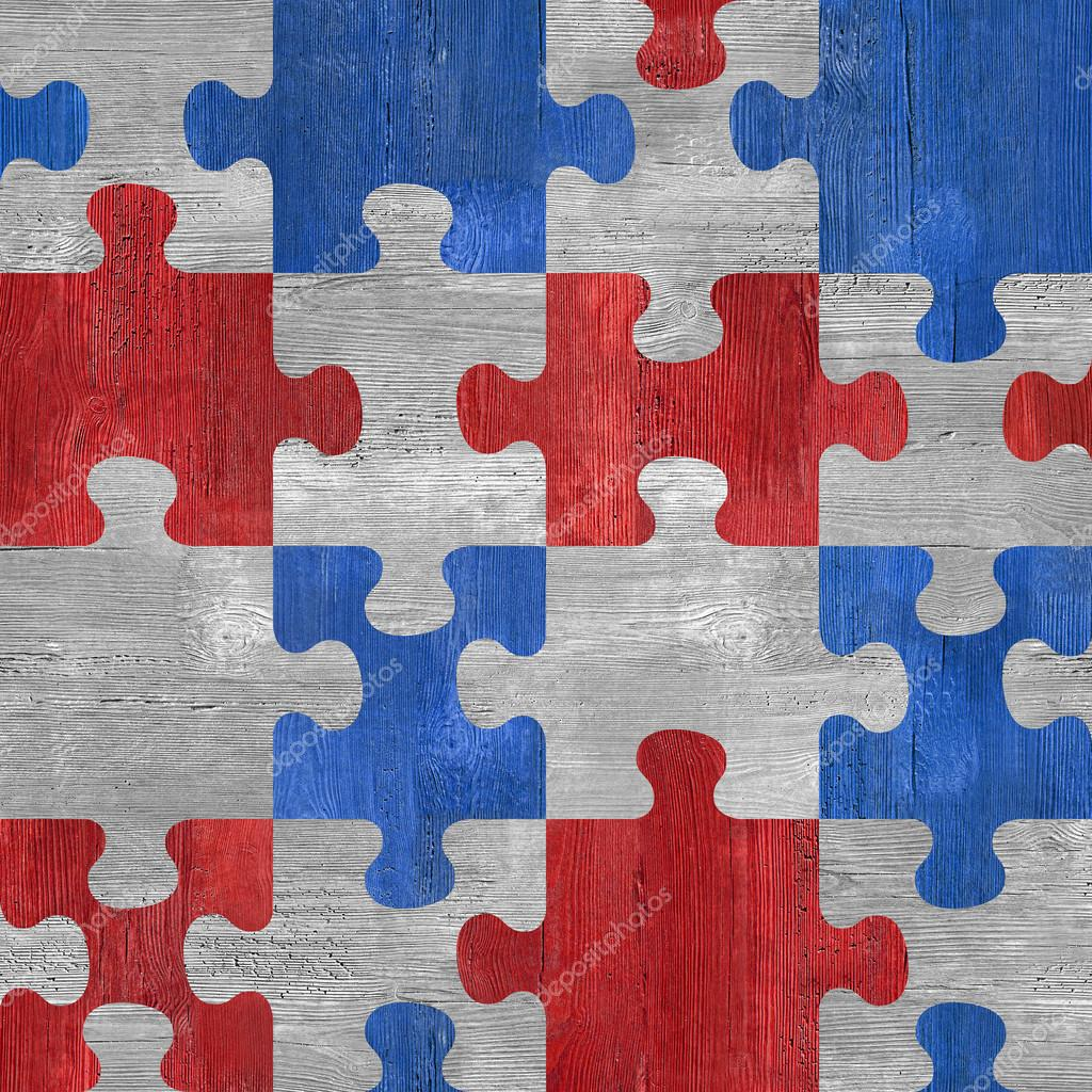 Wooden puzzles - seamless pattern - red-blue color - wood textur