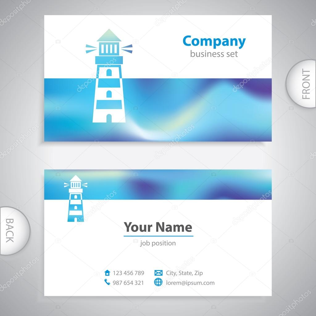 Business card - Lighthouse icon - signaling signs — Stock Vector ...