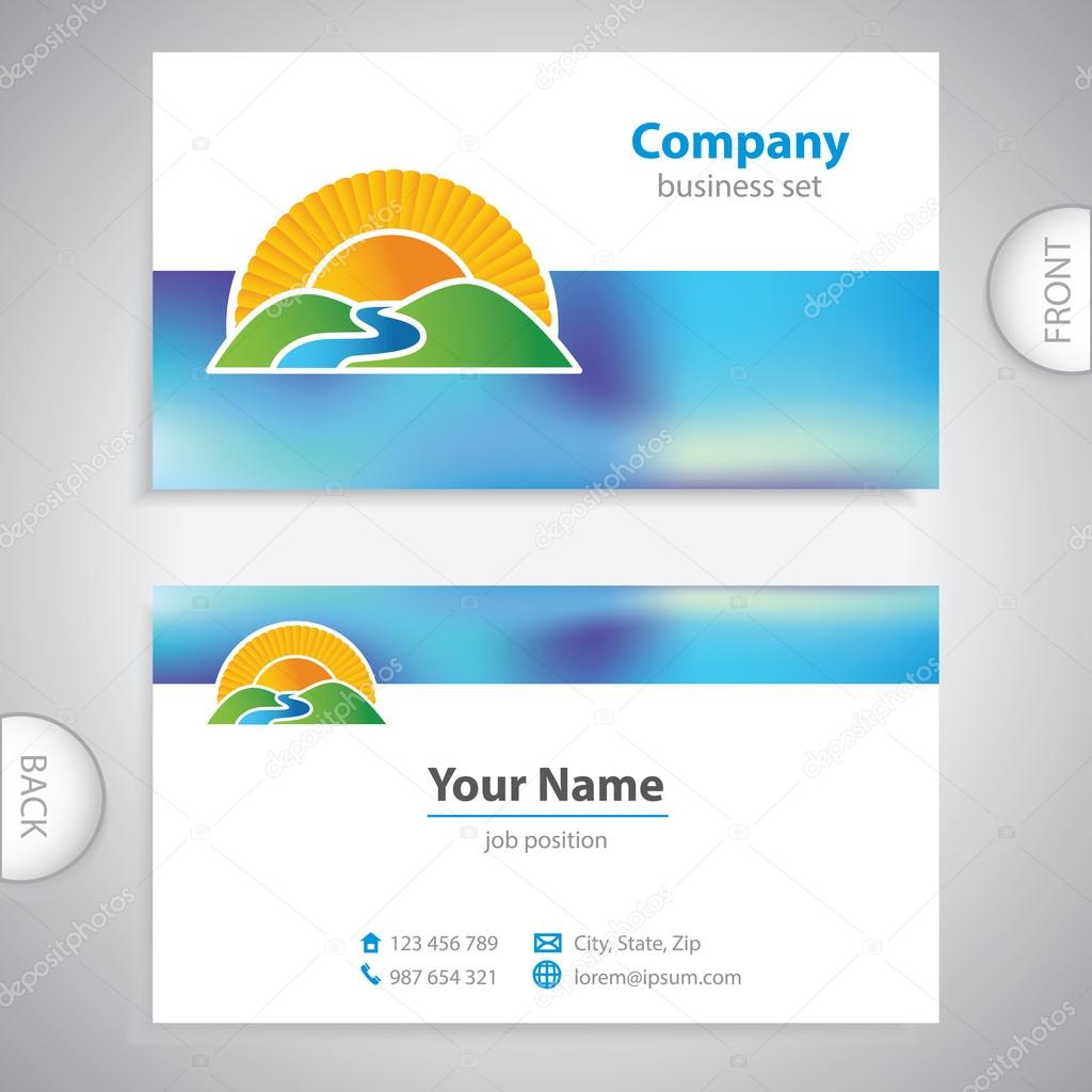 business card - symbols of nature - hills and valleys