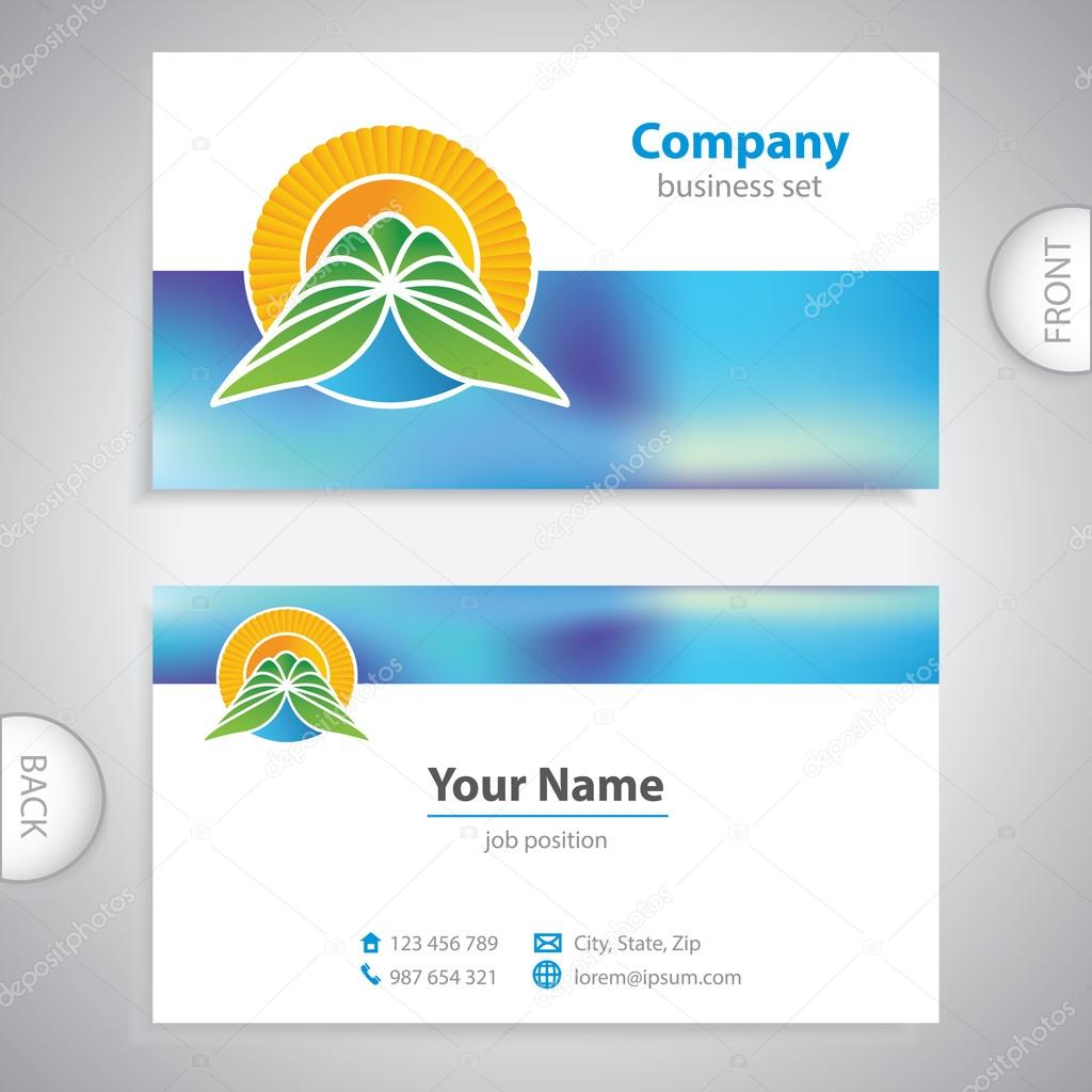 business card - symbols of nature - mountains and waterfalls