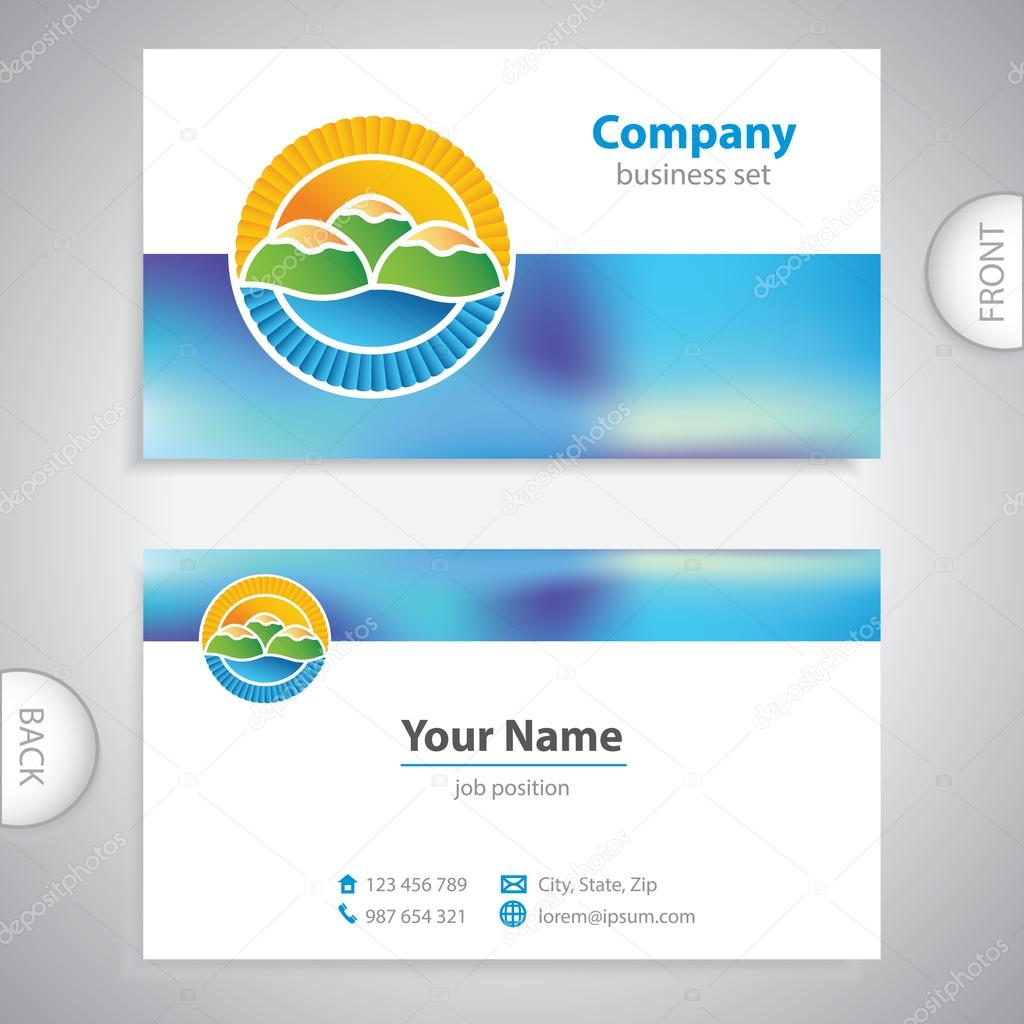 business card - symbols of nature - picturesque hills