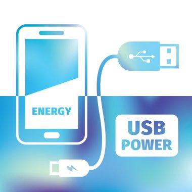 charging mobile phone - USB connection - symbol recharging energ
