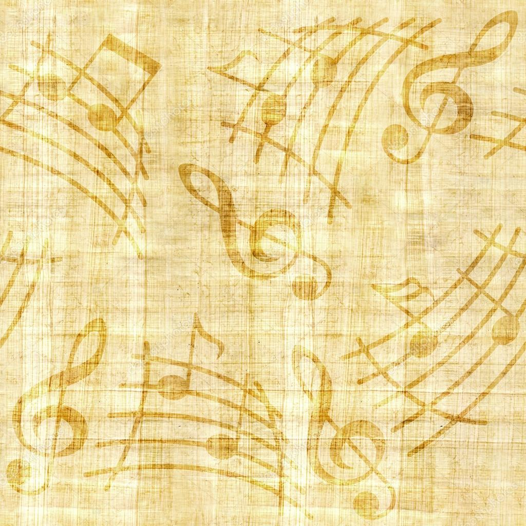 Abstract decorative music notes - papyrus texture - seamless ...