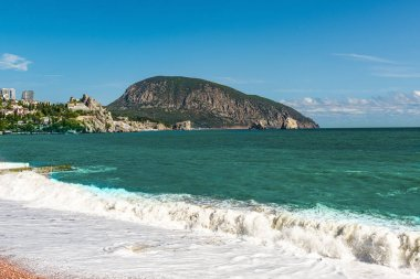 Seascape in Crimea with a view of the famous mountain Ayu Dag