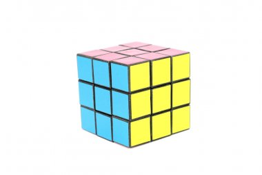 rubik cube colorful isolated on the white background