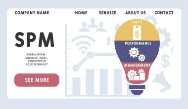 Vector website design template . SPM - Sales Performance Management acronym, business   concept. illustration for website banner, marketing materials, business presentation, online advertising. icon