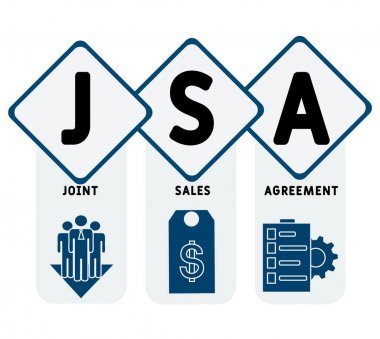 JSA - Joint Sales Agreement acronym, business   concept. word lettering typography design illustration with line icons and ornaments.  Internet web site promotion concept vector layout. icon