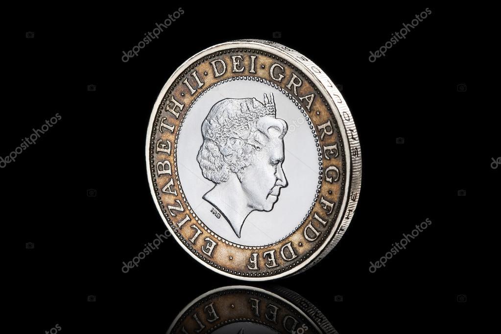 Münze Zwei Pfund Münze Auf Schwarzem Hintergrund Isoliert