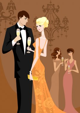 women and men in evening wear