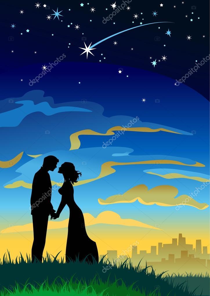 Couple  under starry sky