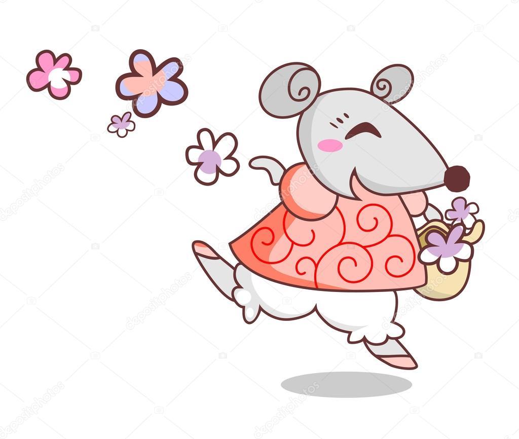 Fröhlich-Maus mit Blumen — Stockvektor © paprika_ #78818330