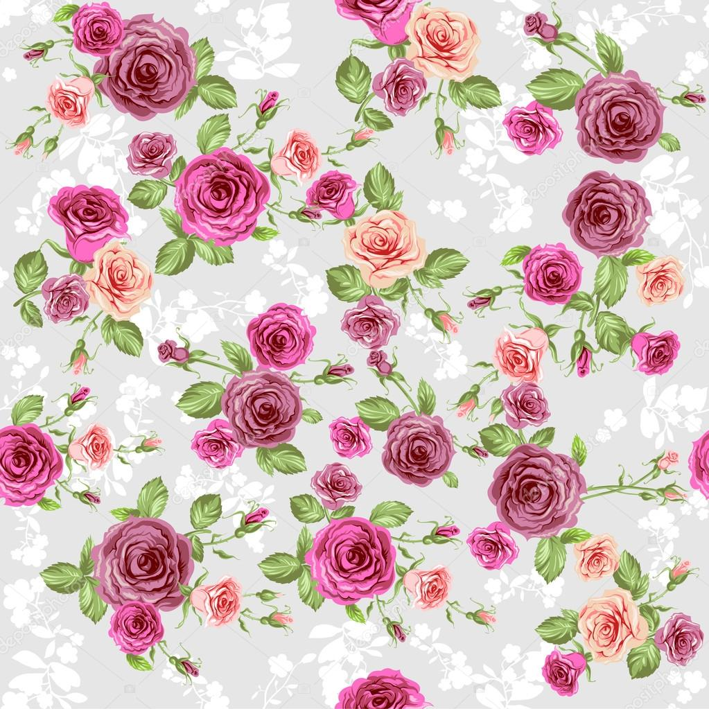 floral pattern on pastel peach background � stock vector