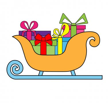 Simple illustration of Christmas sleigh of santa claus for Christmas holiday icon