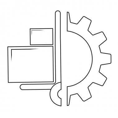 Handcart in gear icon, vector illustration. Flat design style icon