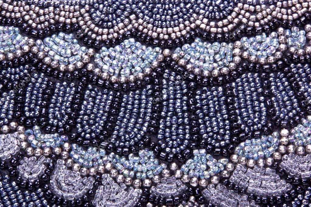 Closeup de patrón bordado en perlas cojín de dispersión — Fotos de ...