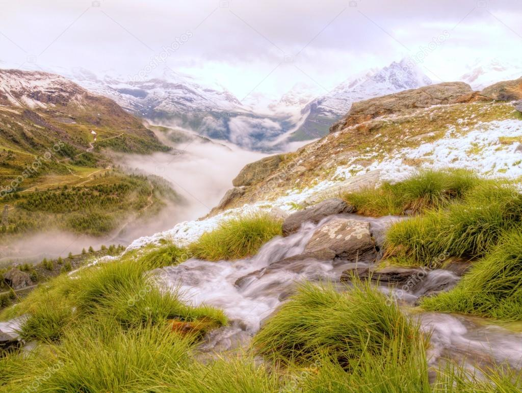 Brook in fresh Alps meadow, snowy peaks of Alps