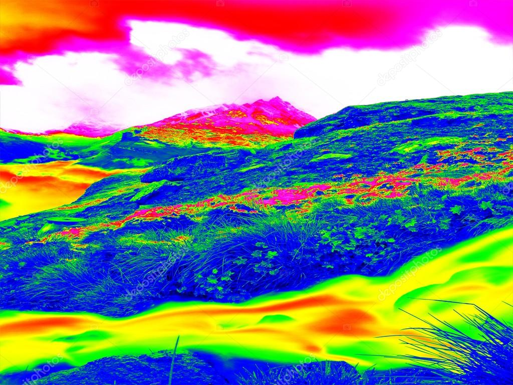 Alpine Spring Mountain Path In Infrared Photo Hilly Landscape In