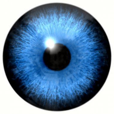 Watercolor paint. Illustration of blue eye iris, light reflection.