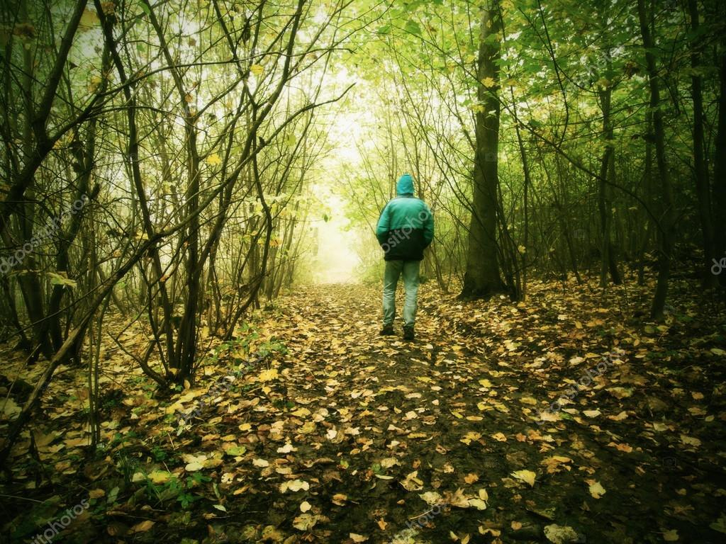 Hunched man is walking in colorful forest in autumn mist